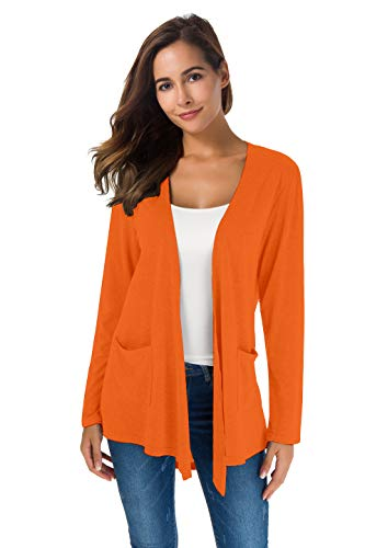 TownCat Women's Loose Casual Long Sleeved Open Front Breathable Cardigans with Pocket (Orange1, L)