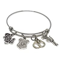 Police Badge Stainless Steel Expandable Bracelet - Police Wife Jewelry Adjustable Charm Bangle - can be personalized with initial and swarovski birthstone