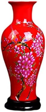 Vase Ceramic Handmade Crafts with Wooden Base Can Be Placed in The Hotel Bedroom Decoration Color Red, Size 16.538cm