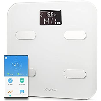 Yunmai Bluetooth 4.0 Smart Scale and Body Fat Monitor, White