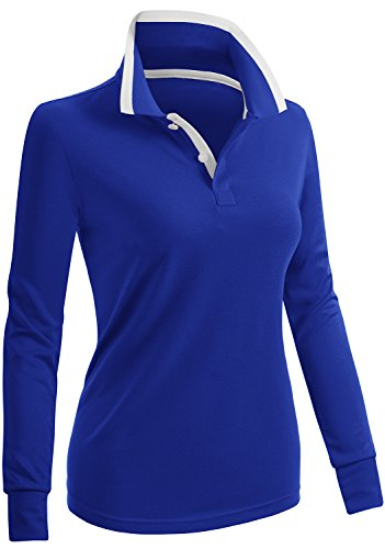 CLOVERY Women's Performance Long Sleeve PK Polo Shirts Cobalt US L/Tag ()