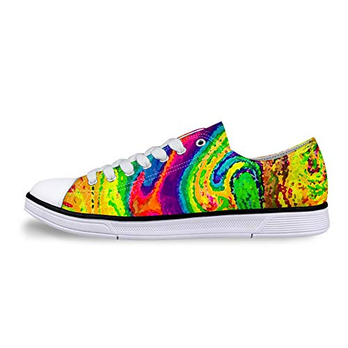 Low-top Canvas Flat Shoes Casual Sneakers 3D Printed Rainbow Color Pattern are Suitable for Men Women.]()