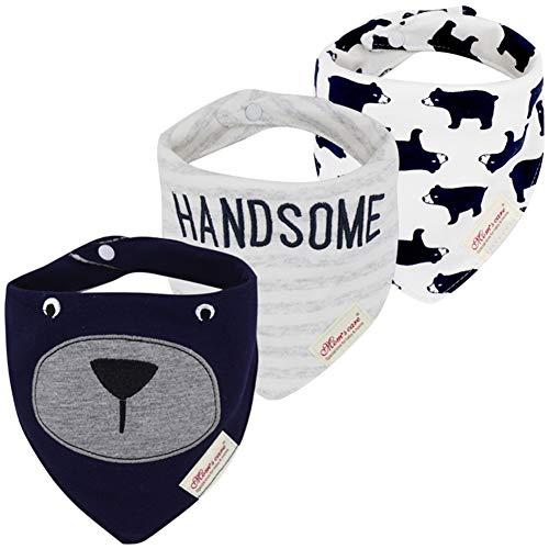 JN&LULU 3-Pack Newborn Baby Bibs Baby Bandana Drool Bibs for Drooling and Teething,Organic Cotton Bibs for Baby Shower Gifts (navy bear)