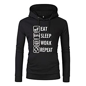 Men's Pullover Hoodie Jacket Hooded Sweatshirt Letter Print Casual Fit Long Sleeve Pullover with Kanga Pocket