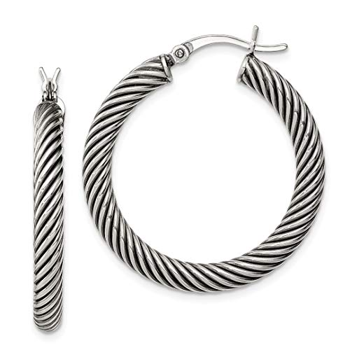 925 Sterling Silver Twist Hoop Earrings Ear Hoops Set Fine Jewelry For Women Gift Set ()