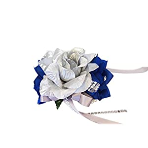 Wrist Corsage - Royal Blue and Silver - Artificial Roses 52