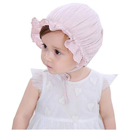 Bigface Up Baby Girl Bonnet Eyelet Lace Breathable Cotton Adjustable Christening Bonnet (Pink A)