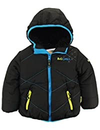 Big Chill Little Boys' Quilted Stitching Puffer Jacket with Sherpa Hood, Black, 6