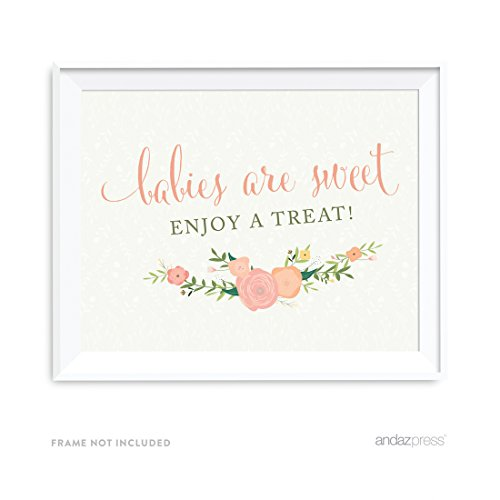 Andaz Press Floral Roses Girl Baby Shower Collection, Party Sign, Babies are Sweet Enjoy a Treat, 8.5x11-inch, 1-Pack