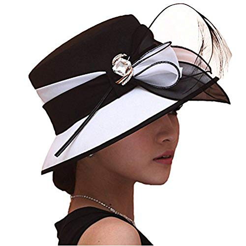 - June's Young Women Hat Formal Dress Hat Polyester Fabric Feather Two Tone Colors (Black/White)