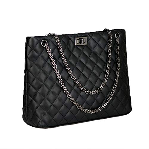 Chain Bag for Hobo Shoulder Women DCRYWRX Lingge Purse Metal Leather Quilted Black Mini Strap PU Red Handbags Chain Black Bags P4q7w4B