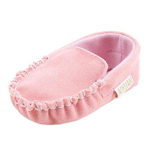 Sharemen Double Velour Soft Sole Shoe Flats Shoes for Babies and Toddlers (0-6 Months, Pink)
