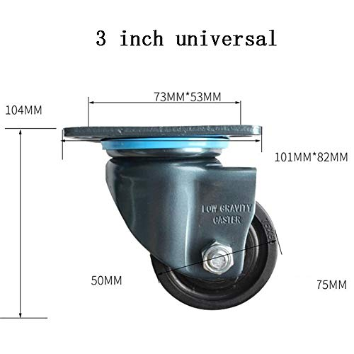 MUMA Heavy Duty 2.5/3 Inch Universal Low Center Of Gravity Casters Industrial Wheel Machinery And Equipment Round Wheel Barrow Nylon Wheel Load 600 Kg (Color : Universal, Size : 3 inch)