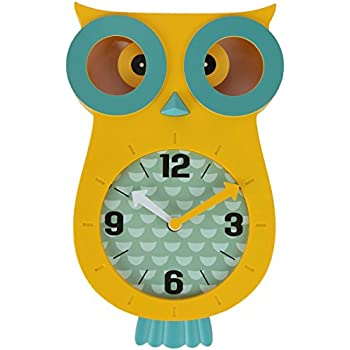 Lily's Home Pendulum Owl Clock with Revolving Eyes and Swinging Tail, Wonderful and Colorful Addition to Owl Themed Bedroom Décor, Yellow (13