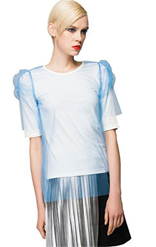 [Mesh Double Layer Layering Shirred Puff Sleeve T-Shirt Tee Top Blue S] (Shirred Puff Sleeve Tops)