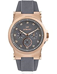 AIMANT Womens Watch Ibiza Rose Gold with Grey Silicone Strap LIB-190SI8-8RG