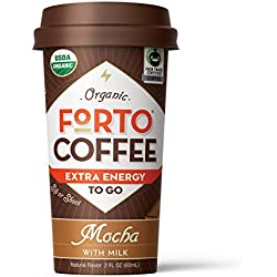 FORTO Coffee Shot - 200mg Caffeine, Mocha Latte, Natural Energy Shot Made From Organic Cold Brew, High Caffeine - Strong Coffee, Ready to Drink 2 ounce Bottled Double Shots