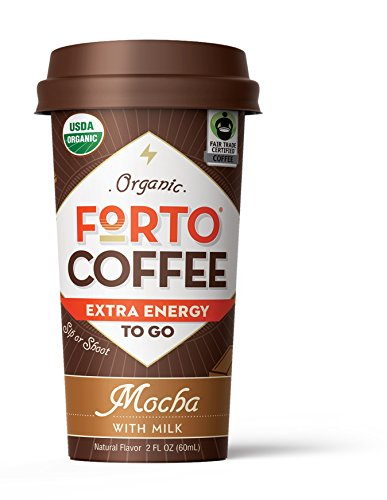 FORTO Coffee Shot - 200mg Caffeine, Mocha Latte, True Energy Shot Made From Organic Cold Brew, High Caffeine - Strong Coffee, Ready to Drink 2 ounce Bottled Double Shots