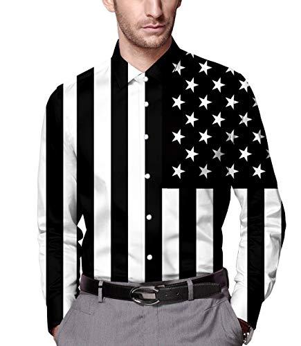 RAISEVERN Men's Button Down Dress Shirt USA Flag Printed Slim Fit Long Sleeve Shirts XXL (Shirt Flag Star)