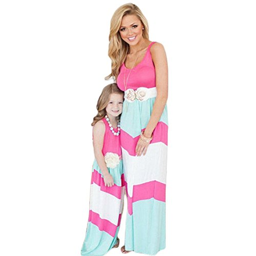 Mother And Daughter Stripe Stitching Dress Casual Family Clothes Women Dress (Mom (Asia S-US 4), Pink) (Pink And Blue Chevron Dress)