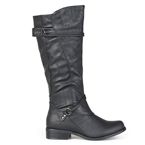 Brinley Co Mujeres Tall Buckle Riding Botas Negro