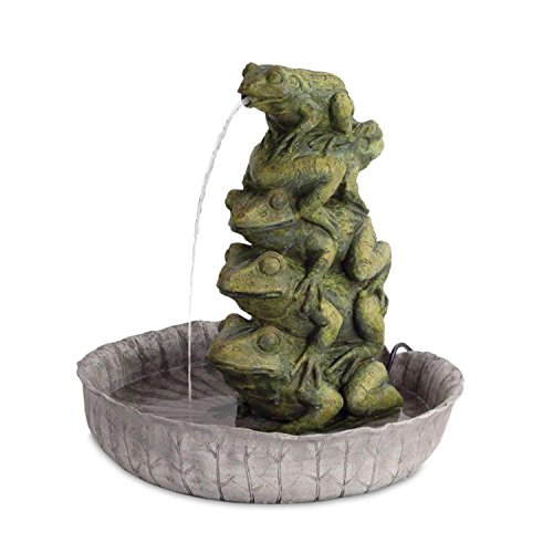 Melrose 21 5  Green Nickel Inspired Five Frog  Sitting And Spitting  Water Fountain
