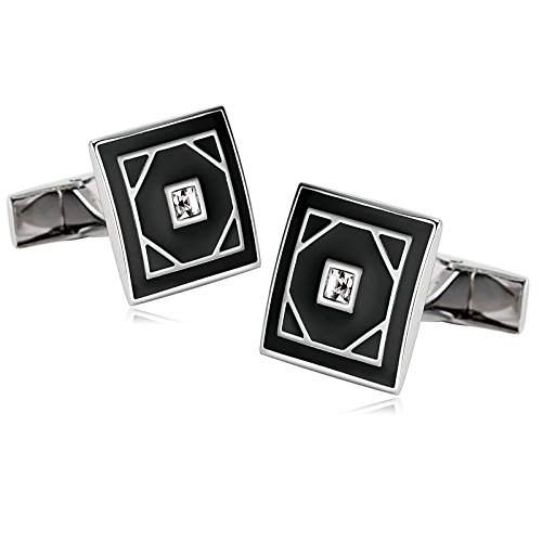 Aooaz Novelty Mens Stainless Steel Cufflinks Enamel Zirconia CZ Square Rhombic Black White With Gift Box