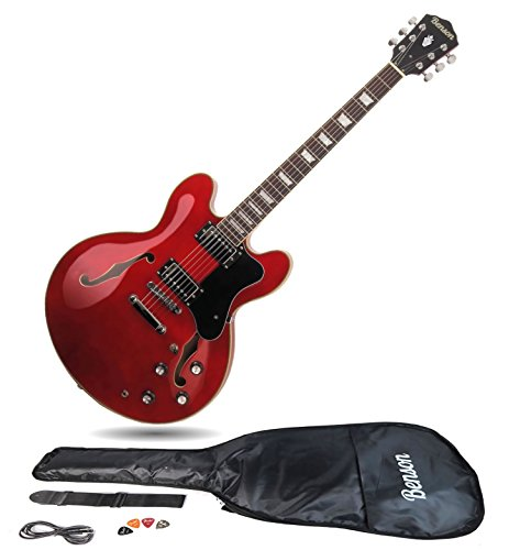 Benson ES Double cutaway semi-acoustic hollow body electric guitar package...