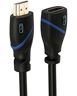 C&E High Speed HDMI Cable Male to Female with Ethernet Black (25 Feet/7.6