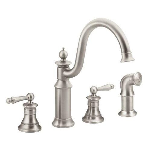 (Moen S712SRS Waterhill Two-Handle High Arc Kitchen Faucet, Spot Resist Stainless)