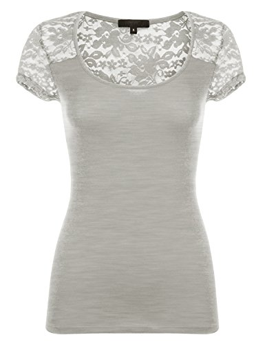 Short Sleeve Fitted Floral Lace Cotton Knit Shirts 085-Hgrey US L