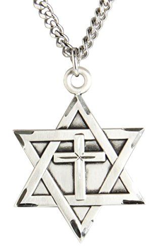 Large Star Of David Pendant - Heartland Store Mens Sterling Silver Star of David with Cross + 24 1.7mm Inch Sterling Silver Chain & Clasp