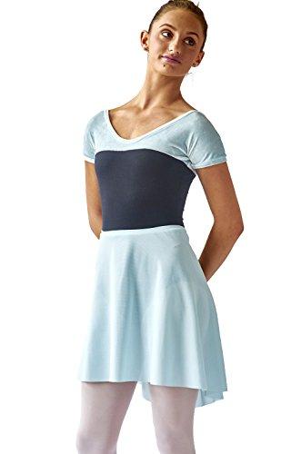 (SteelCore Women's Short Sleeve Velvet Leotard Medium Ice Blue/Black)