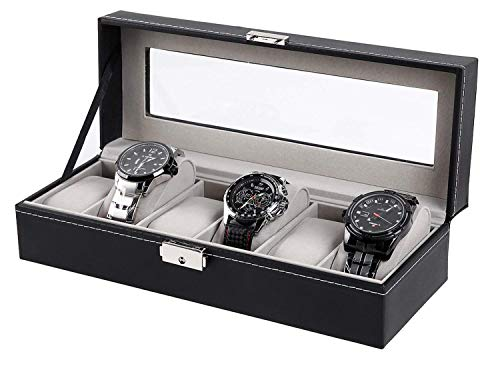 (Ohuhu Watch Case Display, 6 Slot Watch Case Holder PU Leather Watches Storage Box with Lock and Key, Birthday Fathers Day Presents for Men and Women)