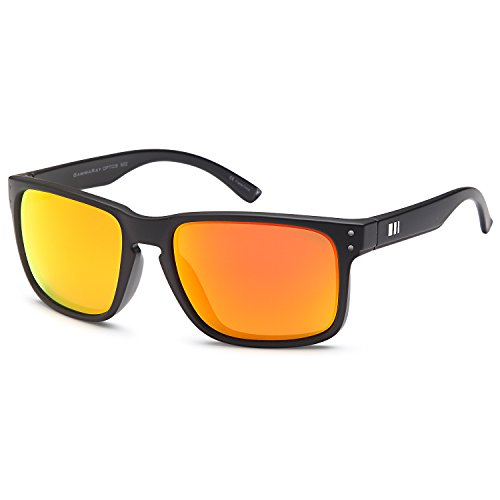 GAMMA RAY Polarized UV400 Classic Sunglasses with Shatterproof Nylon Frame - Black Frame Orange Mirror - Optics Active