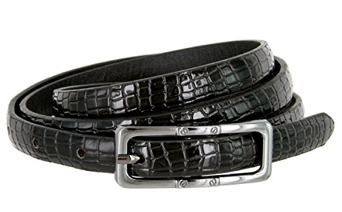 Skinny Alligator Embossed Leather Casual Dress Belt with Buckle for Women 7015 (Black, X-Large) - Black Hair Belt