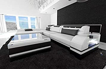 Sofa Dreams Sofa De Cuero Monza En Forma De L Blanco Negro Amazon