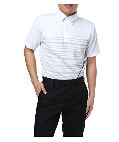 怠シンカン次へツアーディビジョン メンズ ゴルフウェア ポロシャツ 半袖 胸切替ボーダー TD220101H01 WH M
