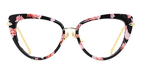 TIJN Cat Eye Frame Retro in Modern Glasses for Women 56mm (H, Transparent)