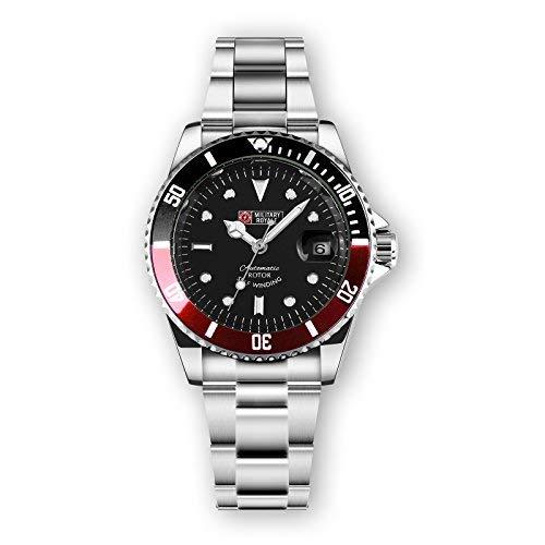MILITARY ROYALE Reloj Hombre Cuerda Automática Bisel del Reloj Esfera Color Negro Fecha Acero Inoxidable