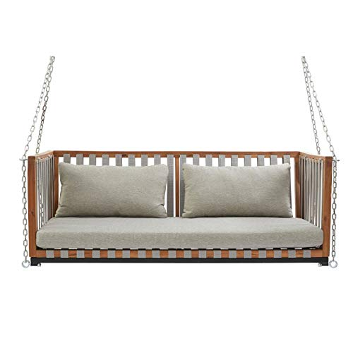 Modern Urban Wood & Fabric Strap Outdoor Porch Swing Swing Bed Patio Furniture Includes Chains Cushion Pillows