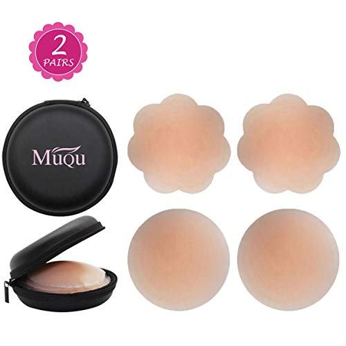 Womens Silicone Pasties, Adhesive Bra Reusable 2, 4 Pair Invisible Silicone Nipple Cover lace (2, Nude-A) …]()