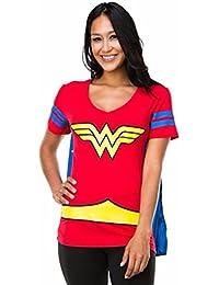 Dc Comics Wonder Woman Blue Stripes Juniors Costume Cape T-Shirt