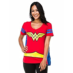 Dc Comics Wonder Woman Blue Stripes Juniors Cape T-shirt