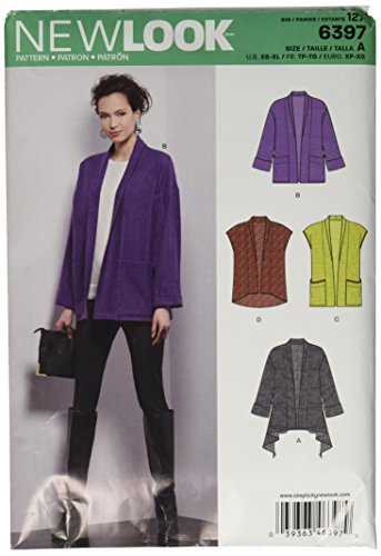 New Look Sewing Pattern UN6397A Autumn Collection Misses' Jacket & Vest Sewing Patterns, A (XS-S-M-L-XL) ()
