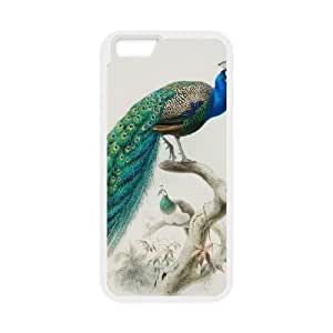 Vintage Collage Peacock iPhone 6 Plus 5.5 Inch Cell Phone Case White O2451643