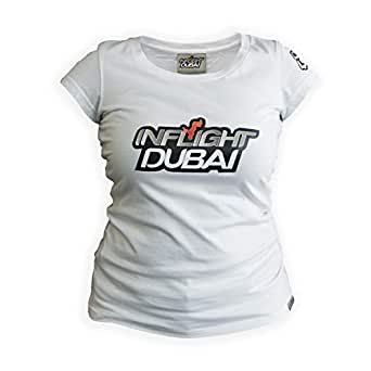 Inflight Dubai White Round Neck T-Shirt For Women