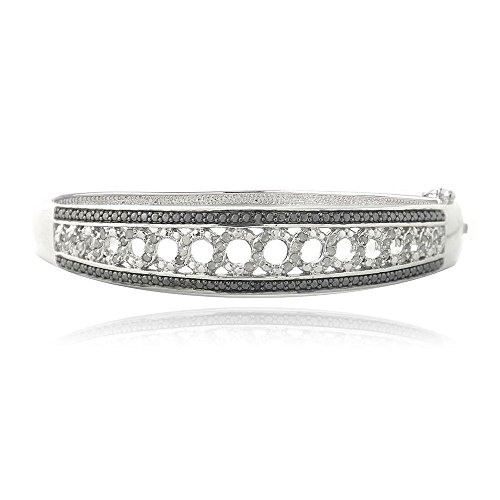 (Glitzs Jewels Brass Black & White Simulated Diamond Circle Bangle Bracelet)