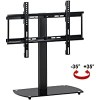 Topeakmart Universal Tabletop TV Stand Base Riser with Adjustable Mount Bracket and Swivel Pedestal