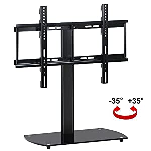 topeakmart universal flat screen tv table top stand base swivel mount bracket. Black Bedroom Furniture Sets. Home Design Ideas